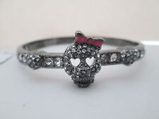 NWT Auth Betsey Johnson Gunmetal SKULL Rhinestone Heart Hinged Bangle Bracelet