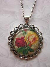 vintage rose glass cabochon pendant charm necklace silver plated red yellow