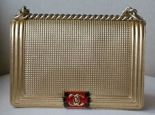 CHANEL BOY MEDIUM EMBOSSED GOLD METALLIC LAMBSKIN FLAP BAG