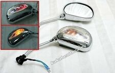 8mm 10mm Chrome Rear-View Mirror Mirrors with 3 wires Turn Signal & Red Light #m