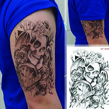 Black Large punk Tattoo Skull Temporary Body Arm Stickers Removable Waterproof