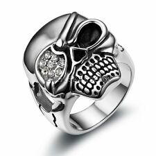 One-eyed Pirate Skull Men's Ring Vintage Black Silver Stainless Steel Size  9
