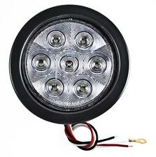 "4"" Inch White 7 LED Round Backup/Reverse Truck Light w/ Grommet & Pigtail -Qty 2"