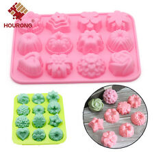 12 lattices Flower Cupcake Bread Pastry Tin Baking Mold Soap Jelly Pudding Mould