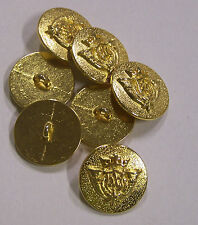 8pc 20mm Double Horn and Crown Gold Metal Military Blazer Button   2084