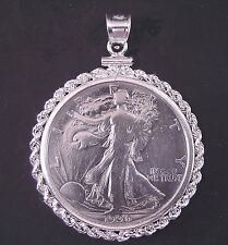 Coin Jewelry Vintage WALKING LIBERTY HALF DOLLAR Sterling Silver Rope Bezel