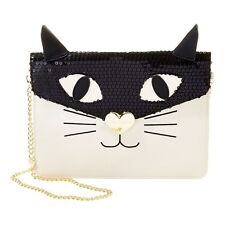 NEW ! NWT BETSEY JOHNSON Cray Cray Creatures Kitty Cat Crossbody Clutch in Cream