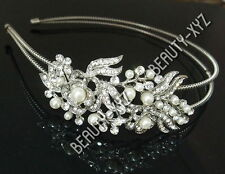 Bridal Wedding Jewelry Crystal Rhinestone Pearl Duo Flowers headband Silver