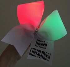 Light Up Merry Christmas Cheer Bow RED AND GREEN LIGHTS Hair Bow
