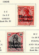 Germany - Selection from 1905 PO in Morocco set. Scott #22 & 26. USED