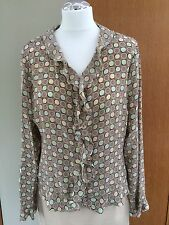 James Meade silk blouse circle pattern size 16 beige taupe pale green teal