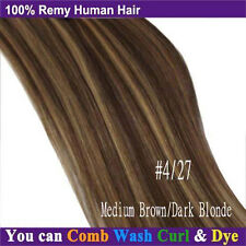 "BEST Selling Clip In Remy Human Hair Extensions Full Head 18"" 20"" 22"" Blonde A38"