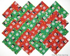 """24 5"""" CHRISTMAS SNOWMEN Fabric Quilt Squares Quilting Snowman Holiday Snowflake"""