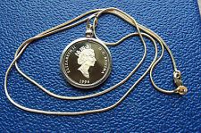"""CANADIAN PROOF 1994 Loonie Bezel Pendant on a 24"""" Gold Filled Snake Chain"""