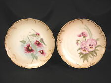H & Co. Limoges Cabinet Plates Hand Painted Pansy & Cone Flowers Set of 2
