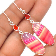 Pink Botswana Agate & Carnelian 925 Sterling Silver Earrings Jewelry SE135481