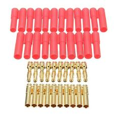 10 Sets HXT 4mm Bullet Banana Plugs Socket w/ Red Housing RC Connector AM-1009C