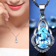 Women Charm Blue Sapphire Solid 925 Silver Pendant Necklace Waterdrop Jewelry