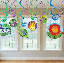 Jungle Animals Value Pack Hanging Swirl Decoration Birthday Party Favor Supplies