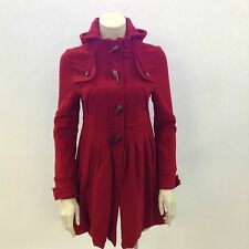 PEPE JEANS Red Coat Womens Hooded Wool Long Sleeve Winter Warm Size UK M 40298