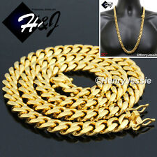 "30""MEN Stainless Steel HEAVY 14mm Gold Miami Cuban Curb Link Chain Necklace*N154"