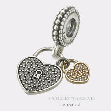 Authentic Pandora Sterling Silver and 14kt Love Locks CZ Dangle Bead 791807CZ