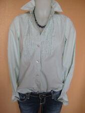 Milano Italy schöne Bluse Hemd Gr.38-S weiß-grün fein gestreift langarm TOP