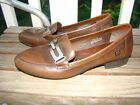 BORN DARK BROWN LEATHER LOAFERS SILVER BAR ACCENT SHOES WOMEN SIZE 8.5 *NICE$$$