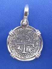 Sterling Silver Small Spanish Shipwreck Replica Coin Pendant Pirate Medallion