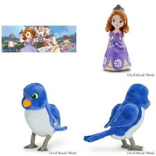 "Disney Store Sofia the First Plush Doll 13"" & Mini Bean Bag Mia Bluebird Set NWT"