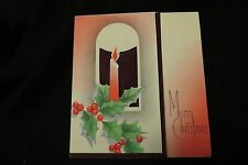 Vintage ART DECO CANDLE & HOLLY Christmas Card c. 1920s
