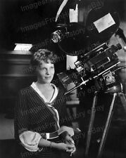 8x10 Print Amelia Earhart Pictured with Motion Picture Camera #AE104