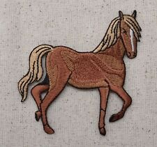 Iron On Embroidered Applique Patch Tan Brown Horse Facing Right Equestrian