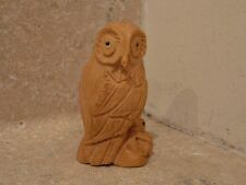 VINTAGE CARVED WOODEN BOXWOOD OWL WITH MOUSE IN TALONS