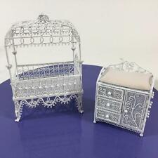 Dollhouse Miniature Concord Wire Lot 2 Nursery Canopy Crib Baby Dressing Table