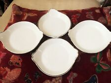 4 ELEGANT SILVER RIM LIMOGES ALUMINITE FRUGIER GRATIN SOUFFLE DISHES TAB HANDLES