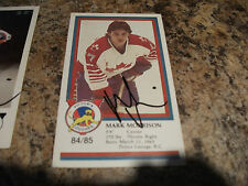 1984-85 VICTORIA COUGARS MARK MORRISON AUTOGRAPHED PLAYER CARD