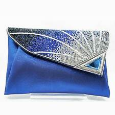 COBALT BLUE SILVER RHINESTONE RAY EVENING CLUTCH HANDBAG