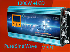 "1200W Grid Tie Inverter 28V-48VDC/110VAC With 3.5""LCD & MPPT Charger Solar Panel"