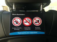 Uber Lyft Headrest Rider Reminder Decal Sign Rideshare Car Display Cards Qty 2