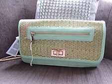 Atmosphere mint green woven straw/faux leather bag gold clasp new with tags