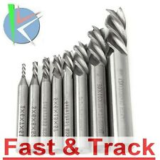 Set frese 8pz 2-12mm HSS Straight Shank 4 taglienti Flute End Mill Cutter CNC