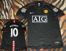 RARE Mens great MANCHESTER jersey black AIG ROONEY 10 L barclays patches gold
