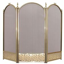 Ingleton Fire Screen 3 Panel Brass Cover Shield Protector Guard Fireplace