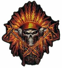 "Skull In A Flame Indian Headress 5"" X 6"" Motorcycle Biker Uniform Patch"