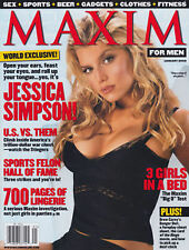 Maxim Magazine January 2002 Jessica Simpson Lauren German Ellen Benson Lingerie