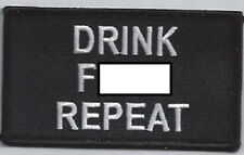 DRINK F-BOMB REPEAT EMBROIDERED IRON ON BIKER PATCH