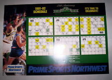 1991-92 SCHEDULE 25TH ANNIVERSARY SEATTLE SUPERSONICS PRIME SPORTS NORTHWEST