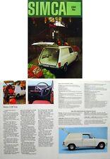 Simca 1100 Van 1971/72 Original UK Sales Brochure Pub. No. H71/72