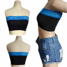 Womens Sexy Blue Lace BLACK Polyester Body Casual Summer Short Crop Top SMALL